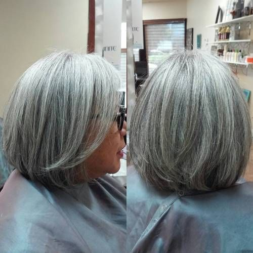 Gorgeous gray bob hairstyles that perfect for older women 10