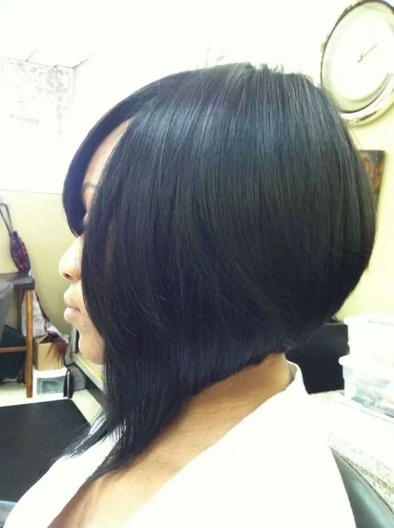 Short Stacked Bob Hairstyle for African American Women with Straight Hair 3 44e180fba3e6e8db76bda95bb1e7bccb