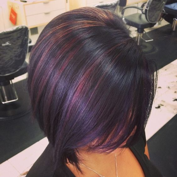 Bob Hair Cut Burgundy Highlight Style 2