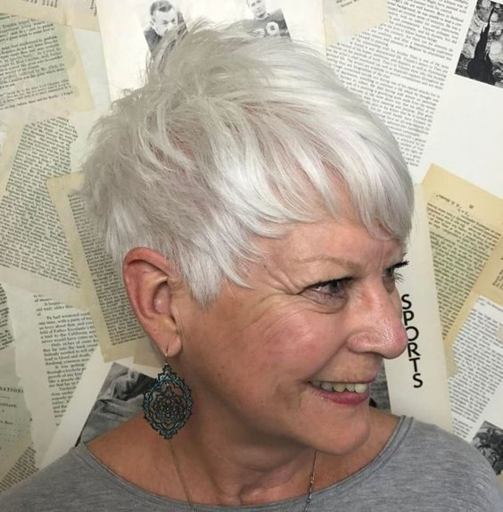 Pretty pixie haircut with bangs for women over 60 1