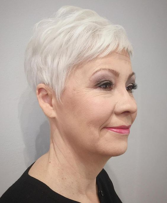 Beautiful looking very short pixie haircut for women over 60 1