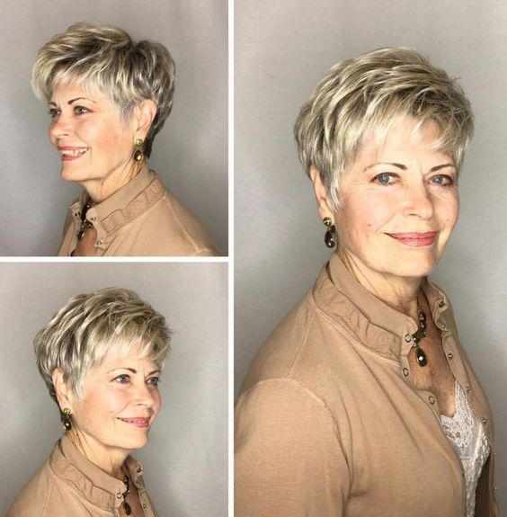 Pretty pixie haircut with bangs for women over 60 8