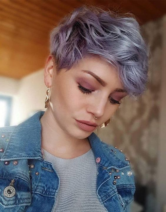 Thick edgy wavy pixie cut