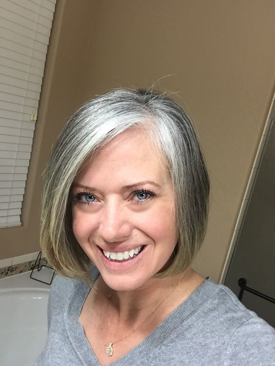beautiful grey layered bob hairstyle for women over 50