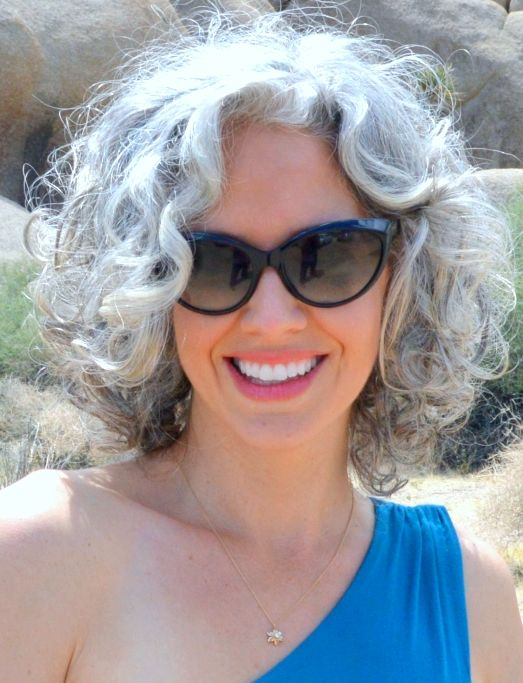 grey hair with chin length curls is beautiful