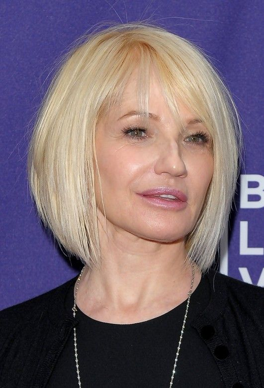 sleek hairstyle for women over 60 with fine hair