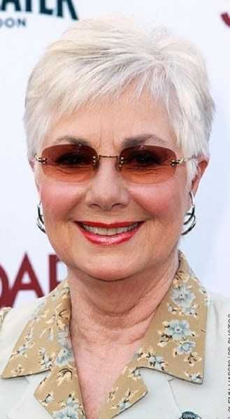 chubby older women with glasses look younger with grey short hairstyle