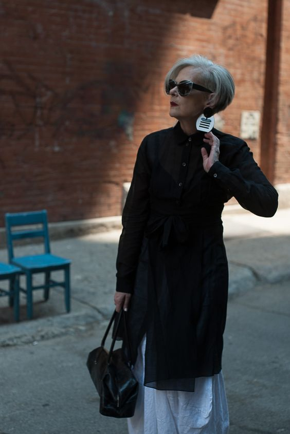 fashion style for over 60 women with glasses and grey hair