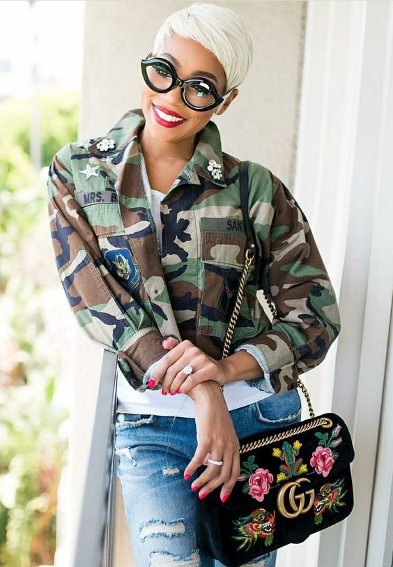 african american fashion style with white pixie hair