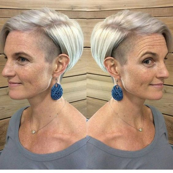 awesome pixie undercut hairstyle for older women