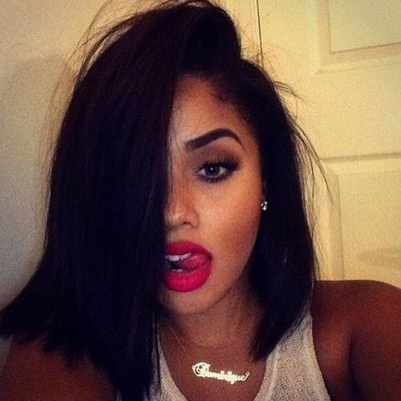beautiful long bob for african american women with thick hair