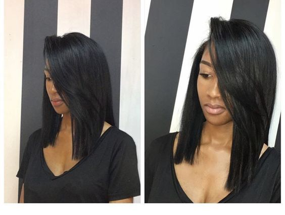 beautiful long bob hairstyle for black women