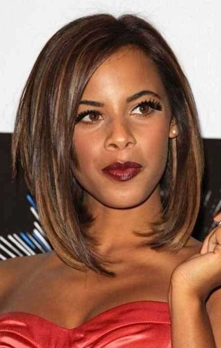 caramel long bob hairstyle for african american women