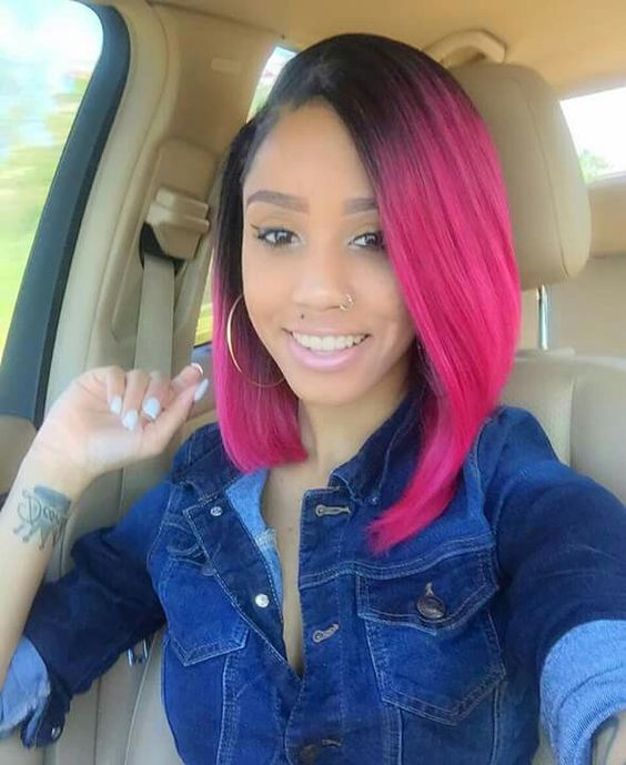 colored long bob hairstyle for african american women