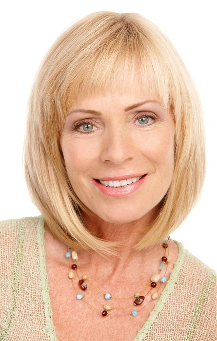 cute bob hairstyle with full bangs for older women