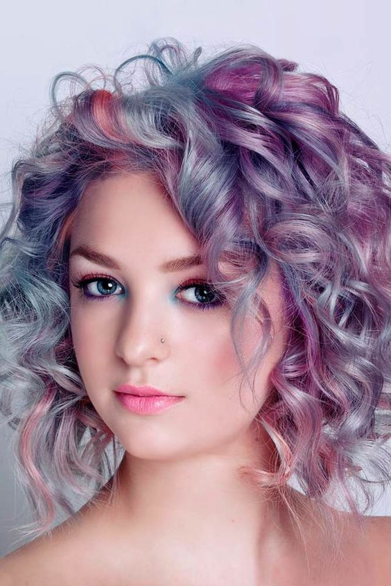Short Bob with Bangs Hairstyles to Make You Look Cool and Classy messy-pastel-curly-short-bob-hairstyle-colorful