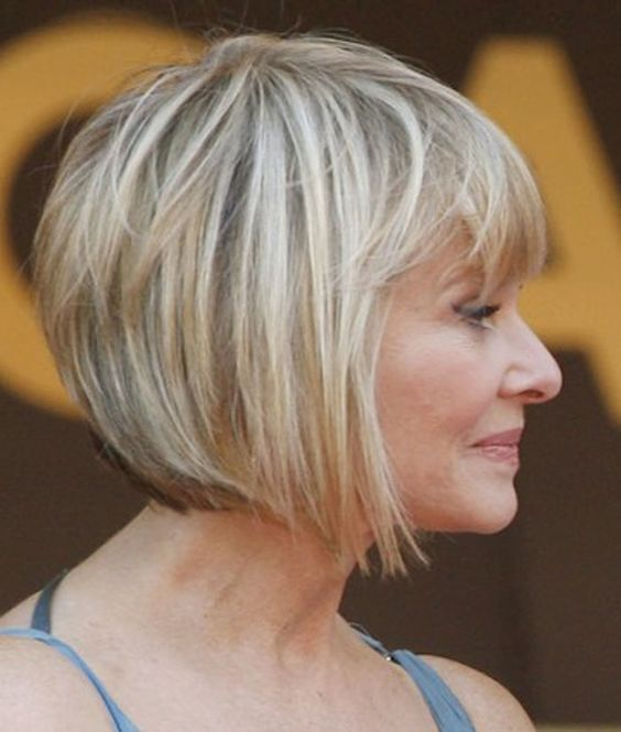 perfect angled short haircut for women over 50