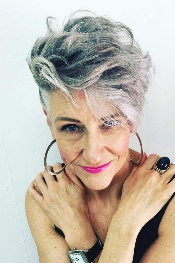 pixie undercut for older women with thick hair