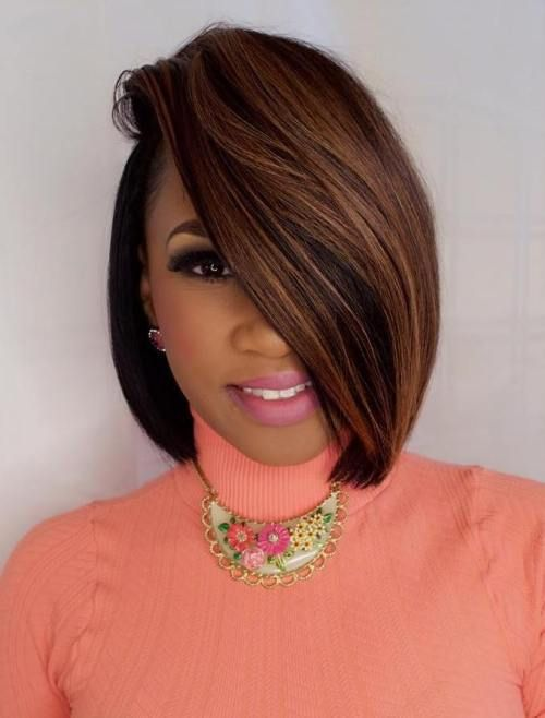 110 Fabulous Short Hairstyles for Black Women short-hairstyle-with-lowlights-caramel