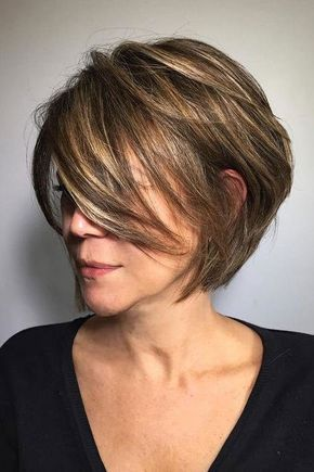 Short Stacked Bob Hairstyle For Older Women Short
