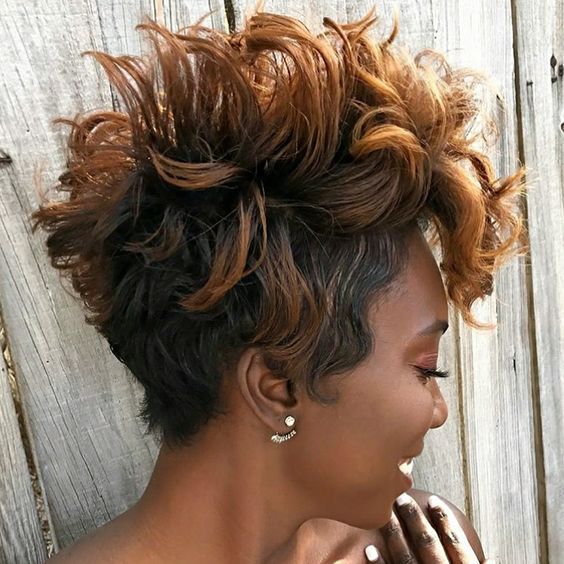 spiky short haircut for african american women
