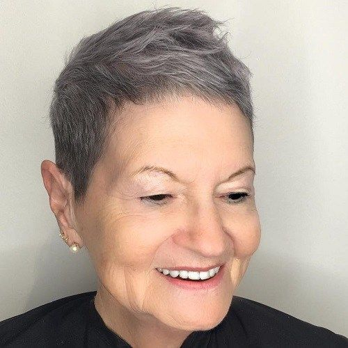 thin pixie haircut for women over 60 with square face