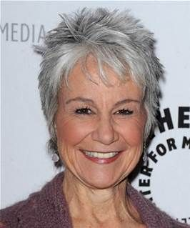 tousled gray short hairstyle for older women