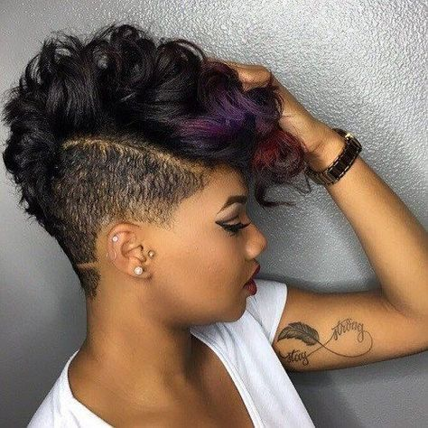 wavy mohawk hairstyle for african american women