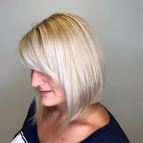 Chin length blunt angled inverted bob