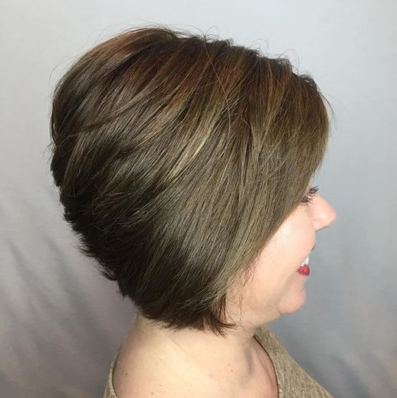 20 Greatest Layered Bob Hairstyles for Older Women (Updated in 2021) Short-stacked-crown-bob