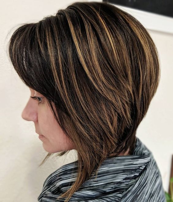 23 Popular Short Hairstyles for Women Over 40 that You Should Check in 2021 Stacked-angled-bob-1