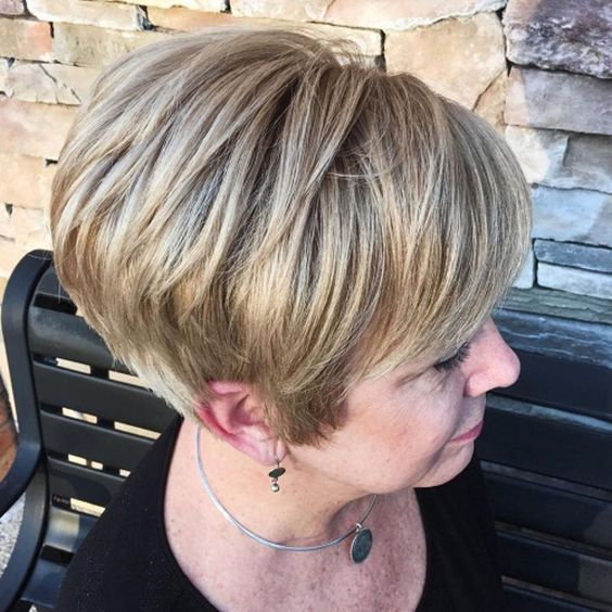 angled wedge haircut style for older women