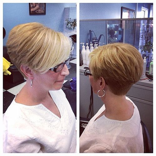 beautiful angled wedge haircut for older women