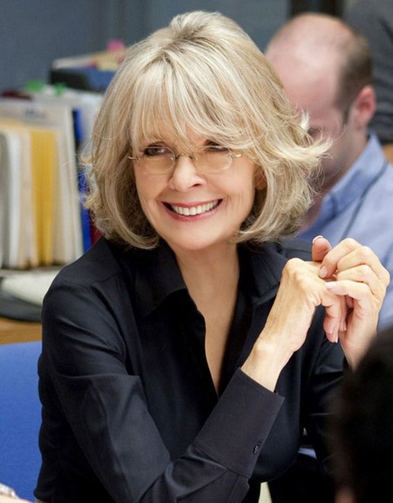 beautiful chin length bob hairstyle for over 60 women with glasses