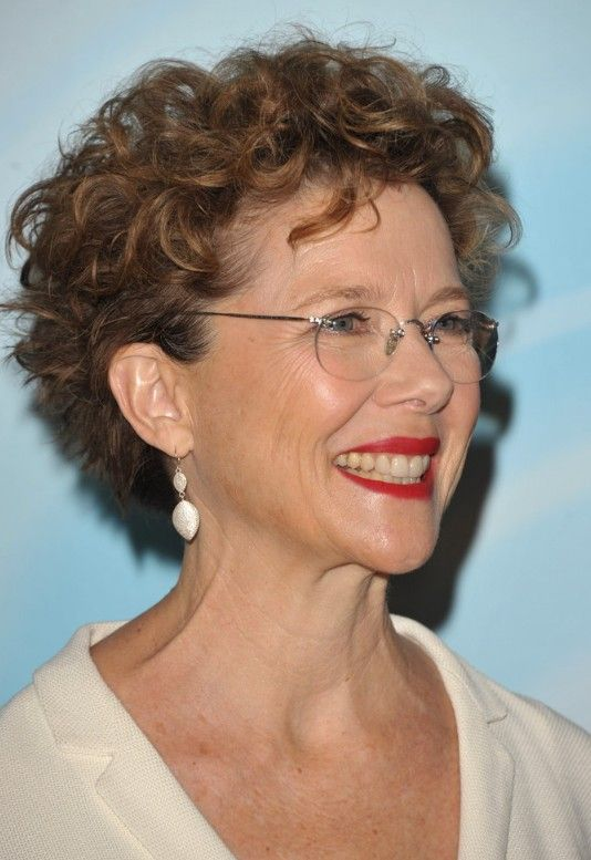 beautiful layered curly pixie haircut for older women with glasses