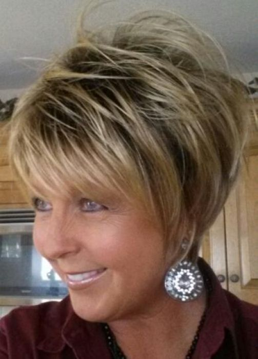 Beautiful Looking Layered Wedge Haircut For Women Over 60