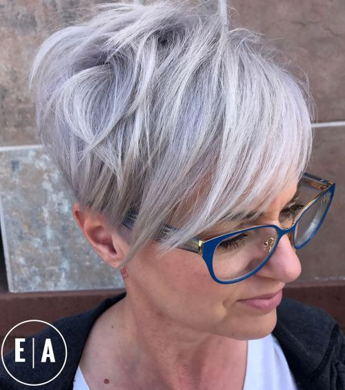 beautiful pixie haircut with bangs for older women with glasses