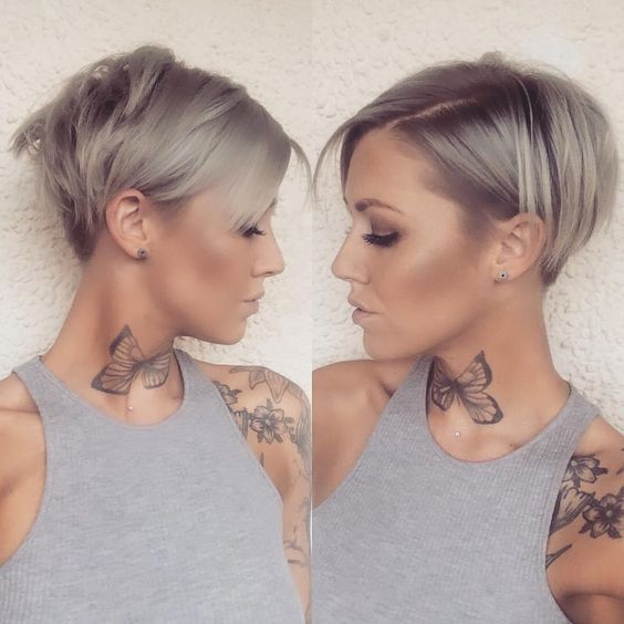 beautiful short stacked pixie haircut for women with thin hair