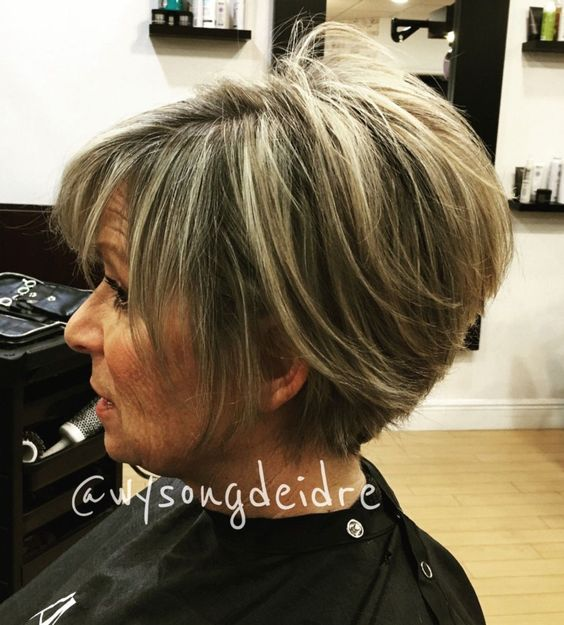 beautiful trendy classic wedge haircut for women over 60