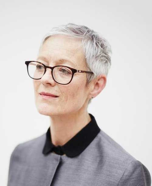21 Short Hairstyles for Women with Grey Hair and Glasses (Updated 2021) beautiful-very-short-haircut-for-older-women-with-thin-grey-hair