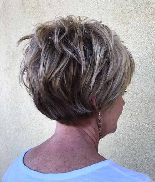 beautiful wavy wedge haircut for women over 60