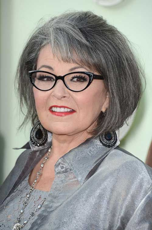 chin length bob hairstyle for older women with glasses