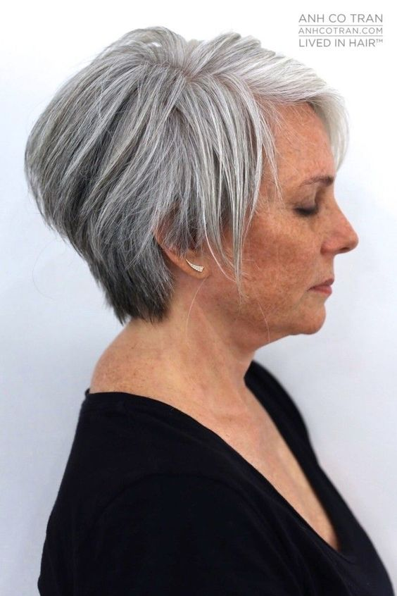 classic short wedge haircut for older women