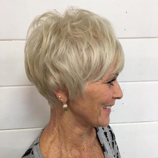 classic wedge short hairstyle for women over 60