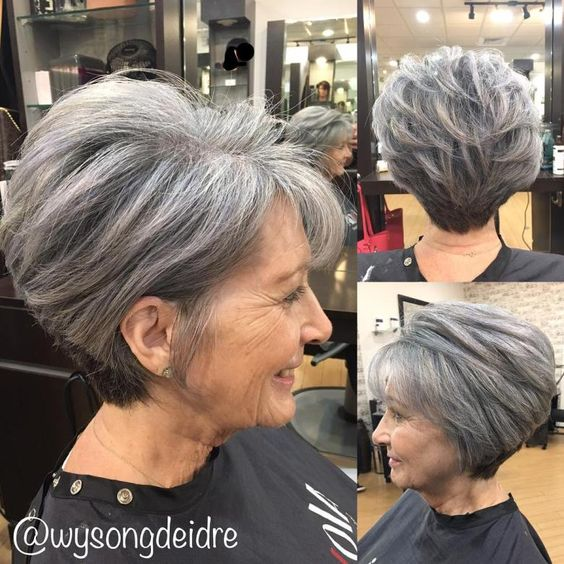 classy wedge haircut for women over 60