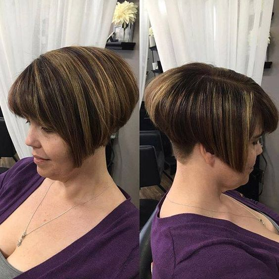 cute short angled wedge haircut for women over 60
