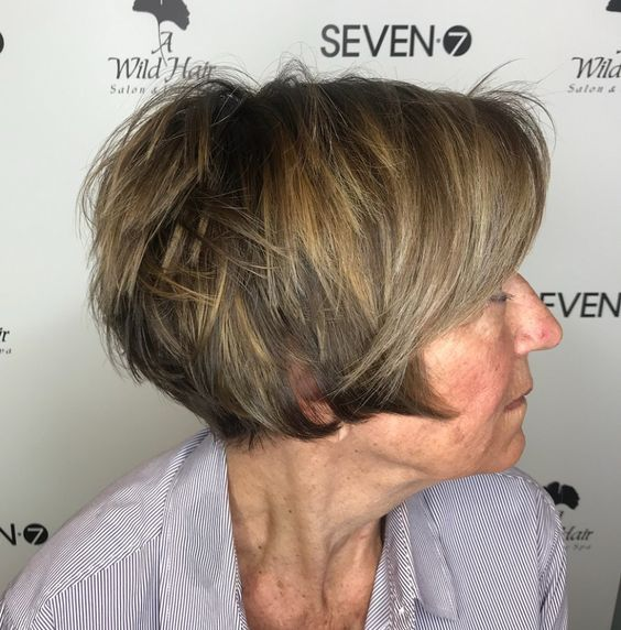 layered short wedge short haircut for women over 60
