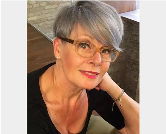 look younger with pixie haircut and side swept bangs if you are over 60 women