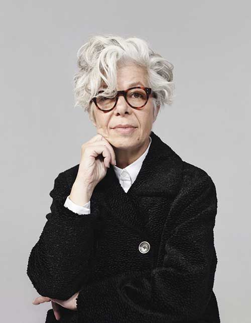 21 Short Hairstyles for Women with Grey Hair and Glasses (Updated 2021) modern-short-messy-curly-hairstyle-for-women-over-60-with-thick-grey-hair