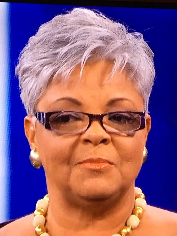 Older Women With Glasses And Grey Pixie Haircut Short